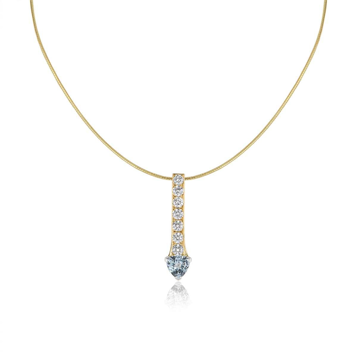 18k Yellow Gold Diamond & Aquamarine Drop Pendant
